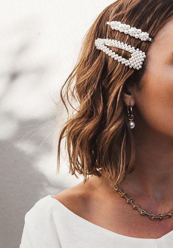 Pinces à cheveux mariage perles