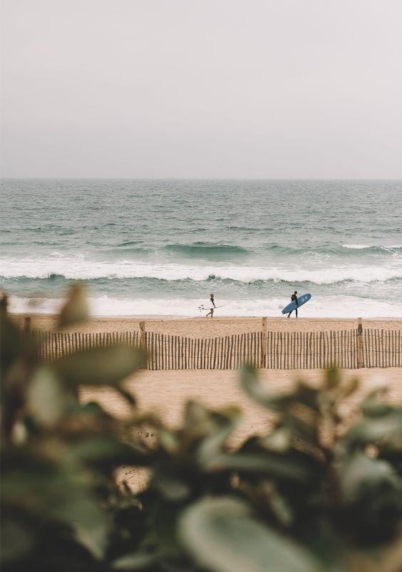 Plage et surfeurs à Hossegor