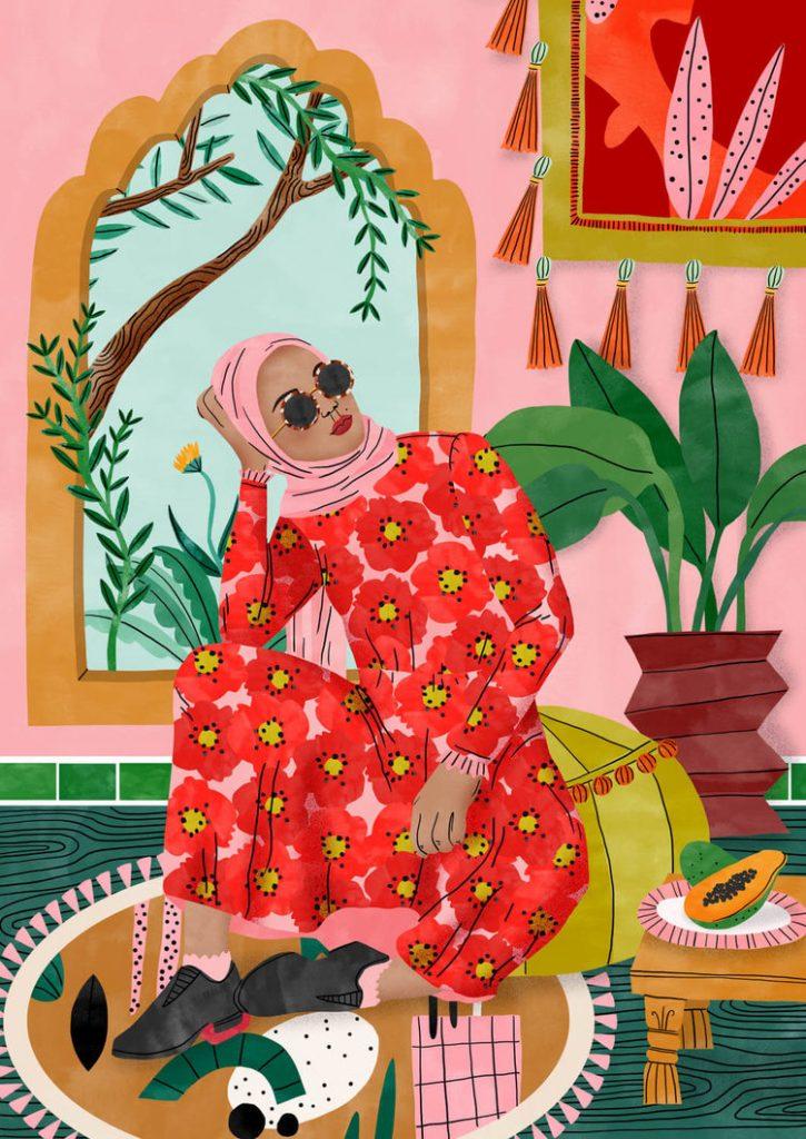 Illustration colorée d'une femme marocaine par Bodil Jane