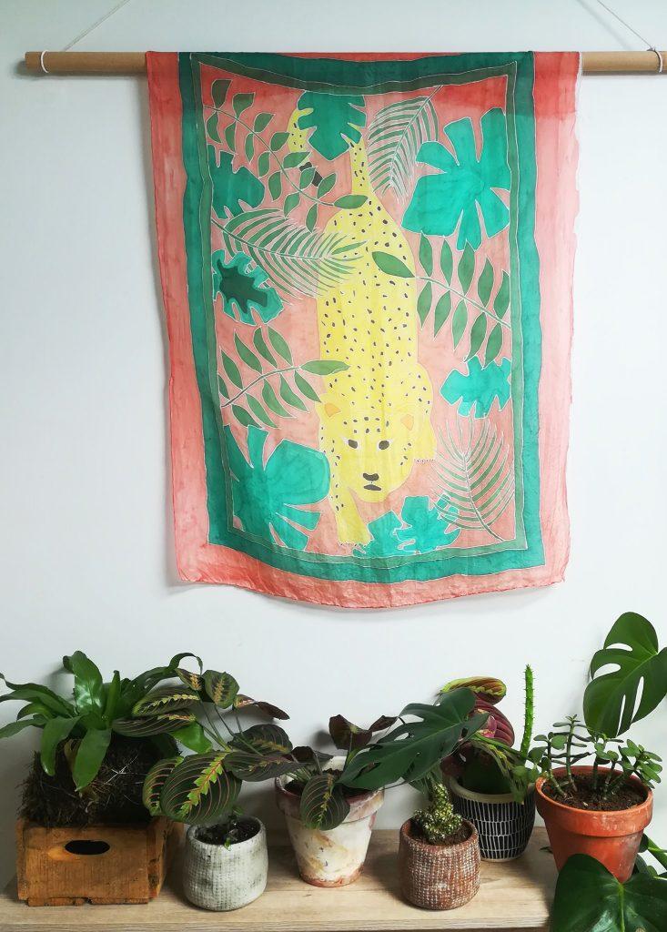 DIY tenture tropicale à la peinture sur soie